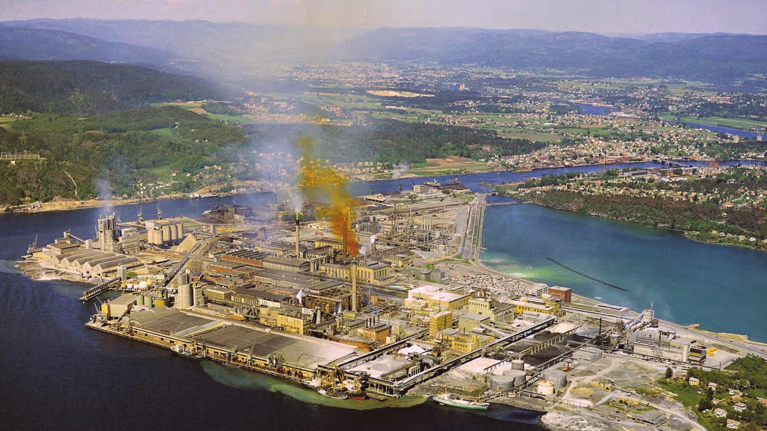 Utslipp til luft og vann fra Norsk Hydros anlegg på Herøya på begynnelsen av 1970-tallet
