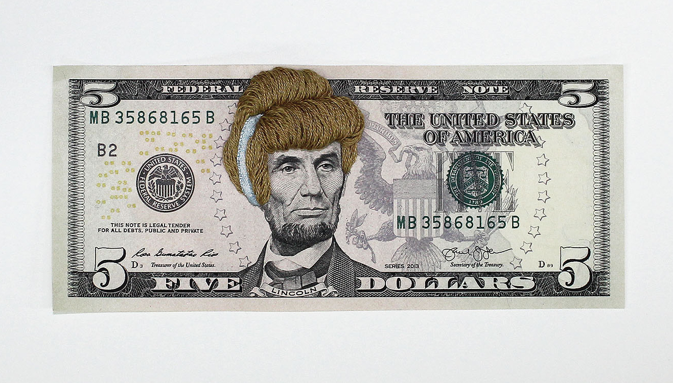 Noora Schroderus: Embroidered Bank Notes, 2016